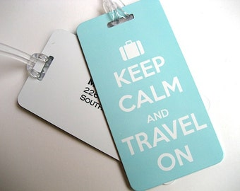 Luggage Tag - 5-Pack -  Blue Keep Calm and Travel On Luggage Tag - Travel Accessories -  Blue Travel Tag
