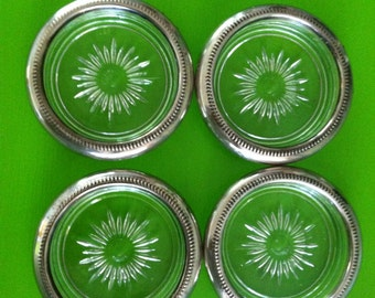 Vintage set of 4 silver rimmed glass coasters made in Italy
