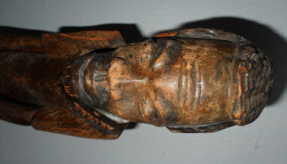 Vintage Haitian Wood Carving Sculpture Statue Elder Man