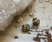 Pyrite Earrings // Druzy Pyrite Studs// Raw Pyrite Stones // Stud Earrings // Sterling Silver // Geometric Earrings // Crystal Earrings