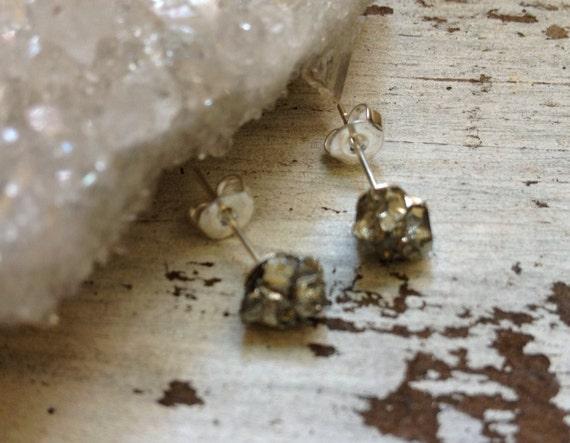 Pyrite Earrings // Druzy Pyrite Studs// Raw Pyrite Stones // Stud Earrings // Sterling Silver // Geometric Earrings // Crystal Earrings