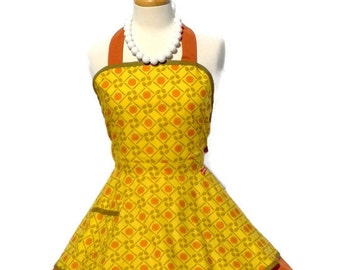 Retro Apron in Cooking Spoons Print - Classic Vintage Pinup Style
