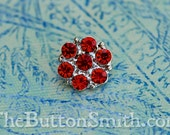 """Rhinestone Buttons """"Isabel"""" (15mm) RS-013 in Ruby - 20 piece set S"""