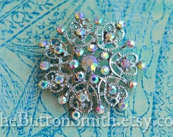 Rhinestone Buttons -Christine- (40mm) RS-054 in Opal AB - 20 piece set