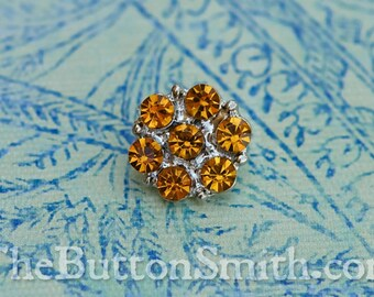 "Rhinestone Buttons ""Isabel"" (15mm) RS-013 in Light Topaz - 5 piece set S"