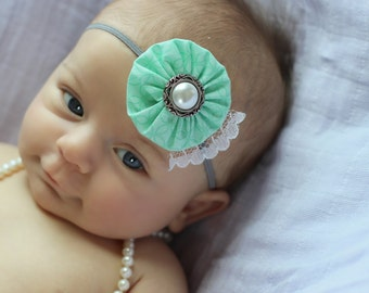 Pretty Mint Green, gray, and white Fabric Flower and Lace Flower Headband