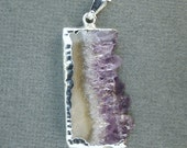 Amethyst Slice with Silver Edging -- Small Amethyst Slice Pendant with Silver Edge- LoWEST PRICE for AMAZING pendants Asp