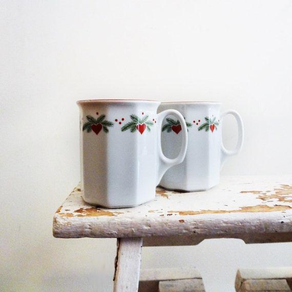 Porsgrund Hearts & Pines Mugs, Set of 2, Multisided Octavia
