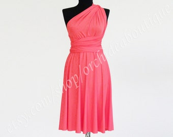 Coral Convertible Infinity Wrap Chameleon Knee length Dress maternity plus size