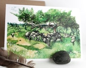 Old Bitterroot Apple Tree - Note card - Blank - Original