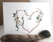 Heart of Blueberry branches - Note card - Blank - Original watercolor illustration