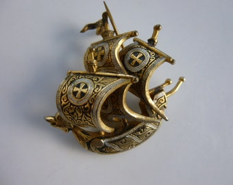 Vintage Viking Galleon Ship Brooch