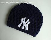 New York Yankees Baby Hat, Newborn Hat, Baby Crochet Hat, Baseball Hat, Baby Boy Hat, Photo Prop, Baby Beanie