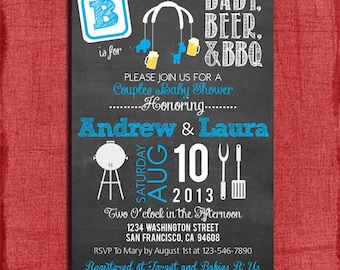 Printable BBQ  and Beer Couples Baby Shower Chalkboard Style 4x6 or 5x7 Invitation-DIY