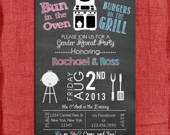 Printable Gender Reveal Bun in the Oven Burgers on the Grill 4x6 or 5x7 Invitation Print at home DIY
