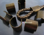 6pcs Antique Brass Crimp Cord Ends Cap - Findings Very Large Round Curve Adjustable Fold Over Crimps End Caps without Loop 16mm x 15mm
