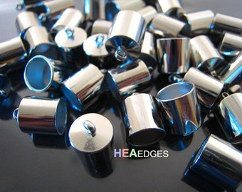 6pcs Silver End Caps 8mm - Findings Silver Plated Large Leather Cord Ends Cap with Loop 12mm x 9mm