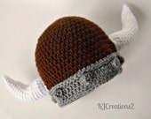Viking Hat- Grey and brown viking hat