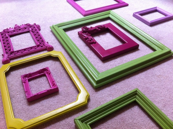 Little Girls Room Decor, Pink and Lime, Funky Bright Home Decor, Upcycled Vintage Frames, Apartment Decor