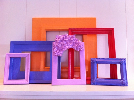 Funky frame set painted home decor frames hollywood regency for Funky home decor