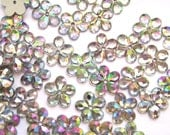 50 pcs Crystal Clear Iridescent Flower Sew on Flatback Rhinestones with 1 hole Acrylic