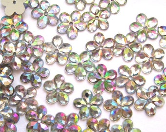 50 pcs Crystal Clear Iridescent Flower Sew on Flatback Rhinestones with 1 hole Acrylic