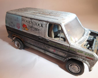 Classicwrecks Rusted Scale Model Ford Van in Black and White