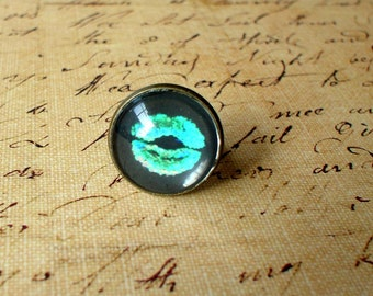 20% OFF -Kiss Me , Lips ,Black And Neon Green Ring ,Morden Fashion,Sweet Gift Idea