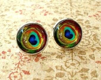 20 % OFF- Peacock Eye feather Golden Blue Green  Multi color Stud Earrings, Fancy Eaarings,Gift For Her