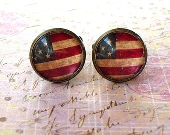 20% OFF -- 16 mm Old vintage USA America flags Cuff Links ,Mens Accessories, perfect gift idea