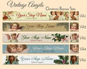 Christmas Holiday Etsy Shop Banner Set - Vintage Angels - Your Choice from 5 Designs