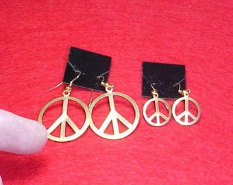 PEACE SIGN Earrings, 2 Pairs, Vintage Brass, Handmade, New Wires, Retro, Boho, Hippy, 1960s, 1970s, Peace, Love, USA