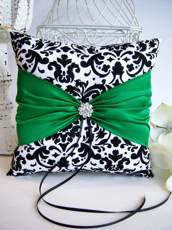 Black and White Damask With Emerald Green Ring Bearer Pillow, March Weddings, St. Patrick's Day Weddings