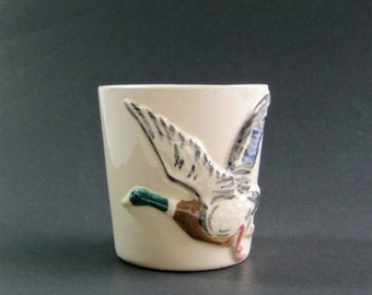 Vintage Ceramic Cup - Duck - Mallard - Hand Crafted - Nancy Lee Davis - Pottery Cup - Hand Made Pottery - Geese