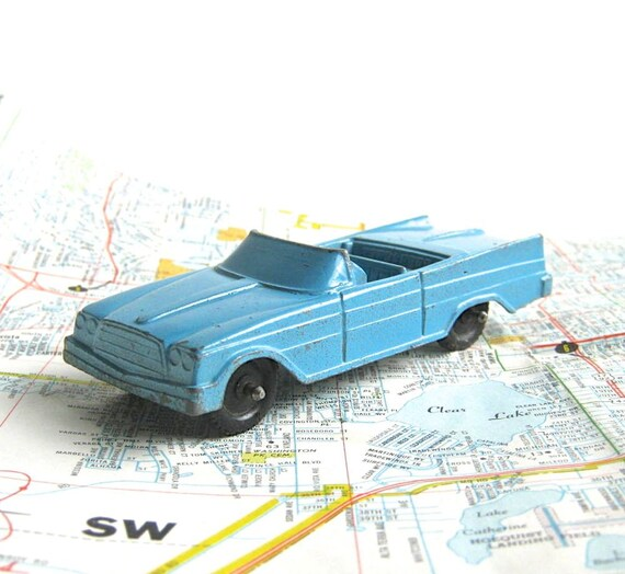 Reserved for Sheri - Vintage Tootsie Toy Car - Chrysler- Convertible - Turquoise