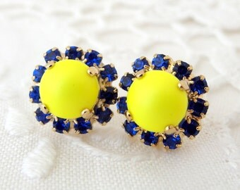 Neon earrings,Neon yellow stud earrings,Swarovski earrings,Yellow blue stud earrings,yellow neon studs,Yellow earrings,Neon,Crystal earring