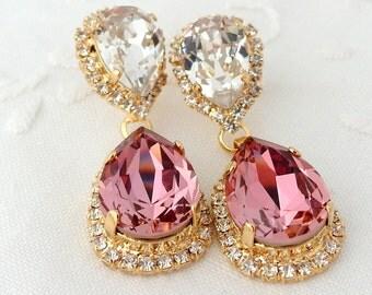 Pink and clear crystal Chandelier earrings, Antique pink white, Bridal earrings, 14k Gold, Dangle earrings, Drop earrings,Swarovski earring