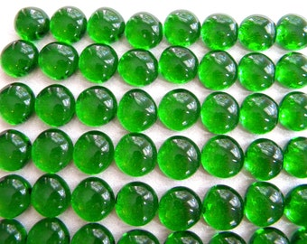 50 Glass Gems - EMERALD GREEN - Mosaic Supplies - Half Marbles/Cabochons/Glass Nuggets