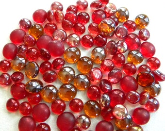 50 MINI Glass Gems - Orange/Red Mix - Mosaic Supplies Floral/Candle Displays - Half Marbles/Cabochons