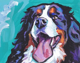 Bernese Mountain Dog print of modern pop art painting bright colorful portrait 8.5x11