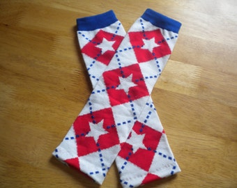 Red White and Blue Argyle American Baby Legwarmers READY TO SHIP