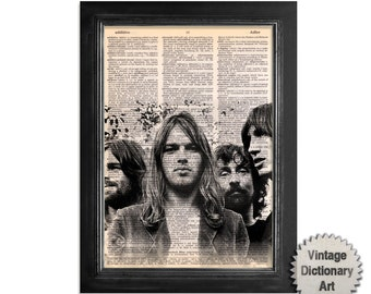 Pink Floyd Print on Upcycled Vintage Dictionary Paper - 8x10.5