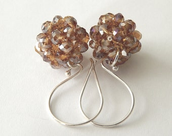 Champagne Earrings, Swarovski Crystal Cluster Drop Earrings, Sterling Silver Dangle Earrings