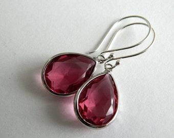 Raspberry Teardrop Earrings, Wedding Jewelry, Ruby Sterling Silver Dangle Earrings
