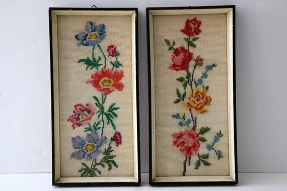 Vintage Pair of Framed Needlepoint Floral Artwork