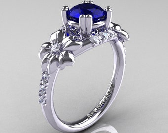 Nature Inspired 14K White Gold 1.0 Ct Blue Sapphire Diamond Leaf and Vine Engagement Ring R245-14KWGDBS