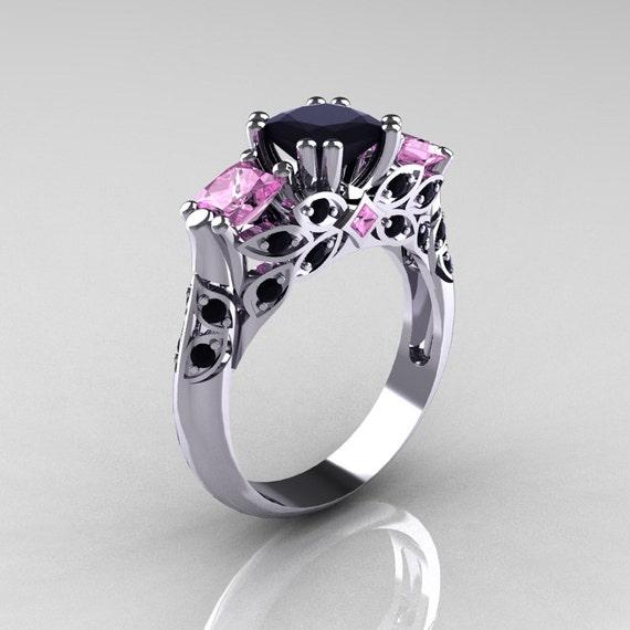 Items similar to Classic 14K White Gold Three Stone Princess Black Diamond Li