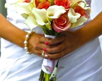 Gold pearl Bracelet, Swarovski pearl and crystal bracelet, Bridal Jewelry, Brides pearl bracelet, Gold pearl wedding bracelet, LOLITA