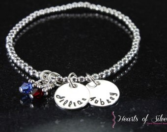 Beaded Sterling Bracelet- Hand Stamped Jewelry- Charm Bracelet- Mommy Bracelet- Mommy Jewelry