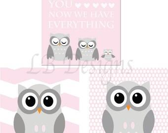 Owl Nursery Art, Pink and Gray Nursery, Girl's Owl Nursery Decor, Girl's Woodland Nursery Art, Girl's Owl Bedroom Decor, Pink Owl Decor - 8x